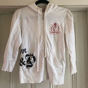 Juicy Couture White 3/4 Length Sleeve Hoodie Med